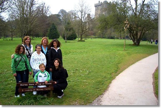 The Patti Hobin party at Blarney Castle, County Cork, Ireland just before they kissed the Blarney stone